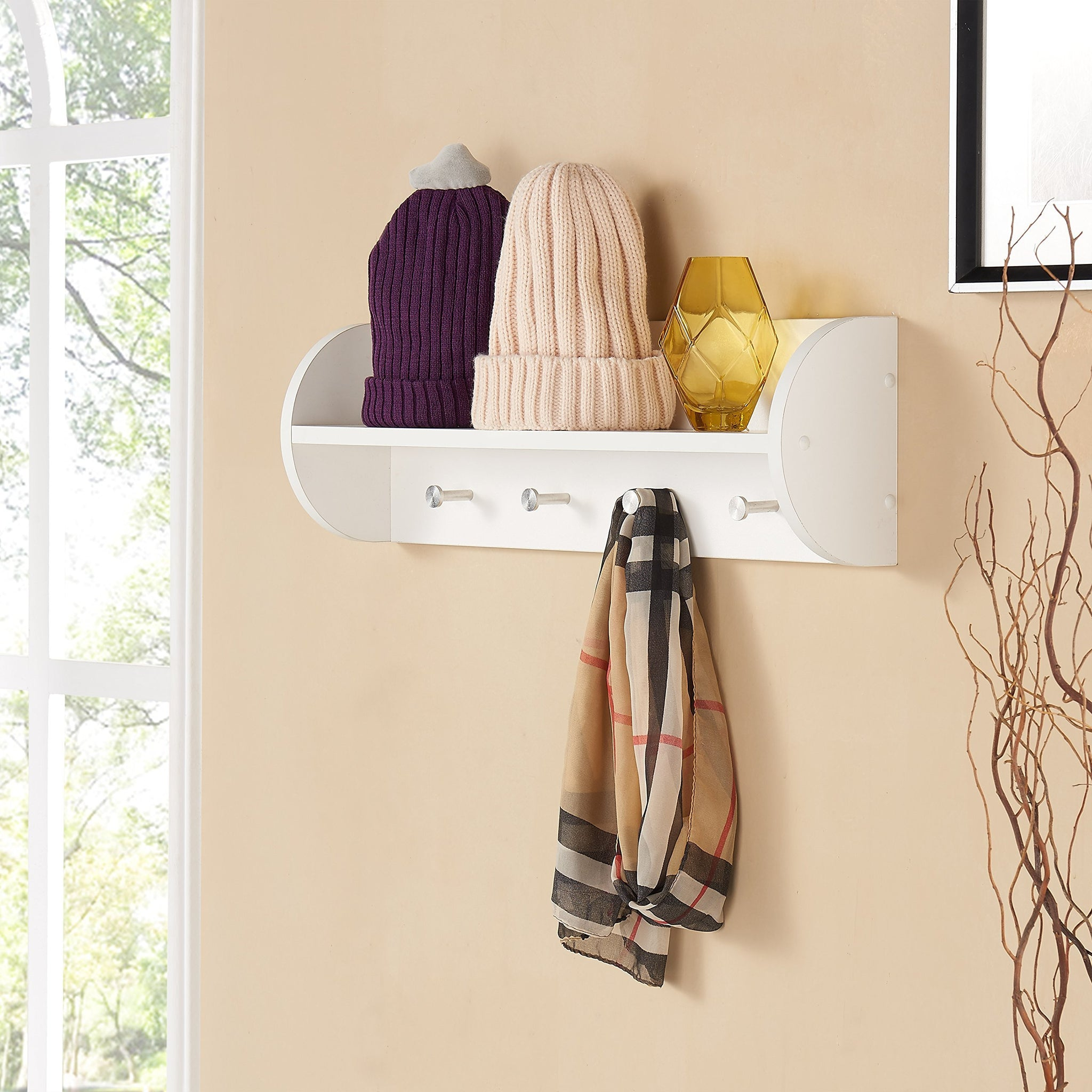 Discover the best danya b white utility shelf with four large stainless steel hooks