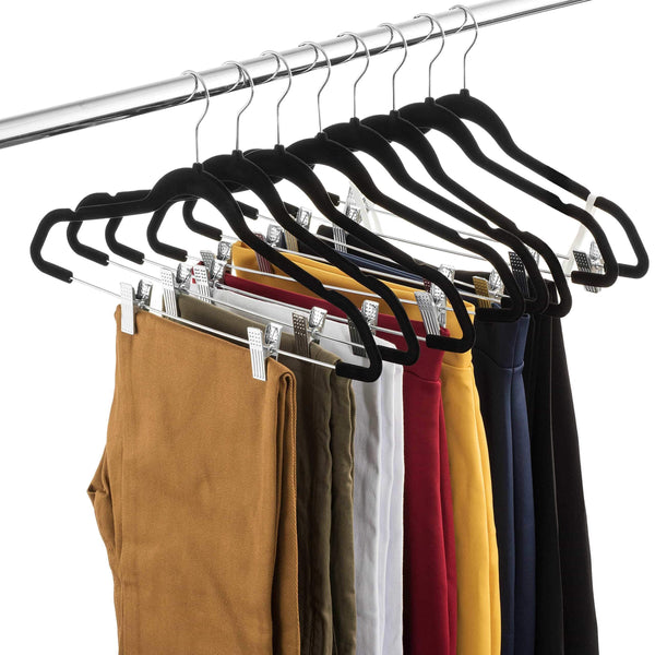 Buy zober premium quality space saving velvet pants hangers strong and durable with metal clips 360 degree chrome swivel hook ultra thin non slip skirt hangers with notches 20 pack black