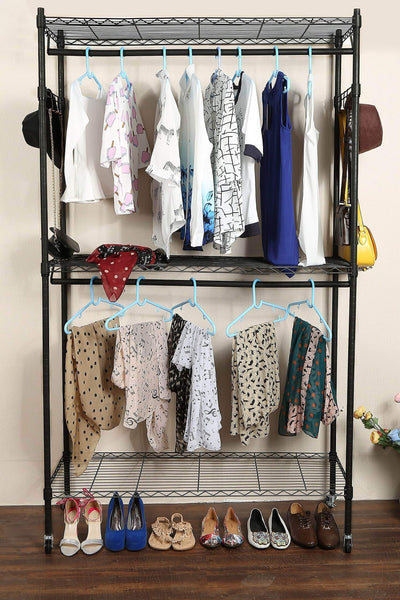 Featured homdox double rod closet 3 shelves wire shelving clothing rolling rack heavy duty garment rack with wheels and side hooks