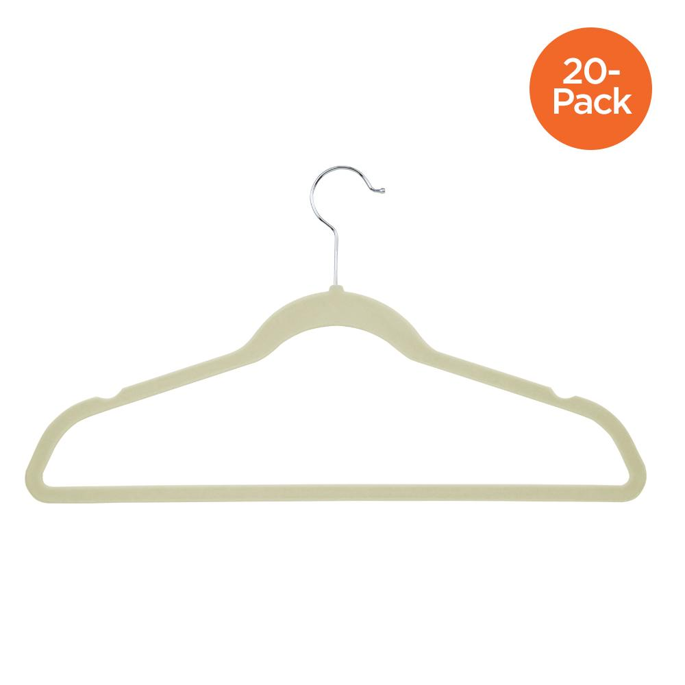 20-Pack Flocked Suit Hanger, White
