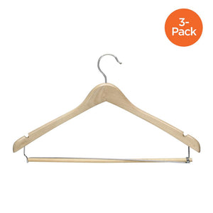 3-Pack Maple Wood Contoured Suit Hangers