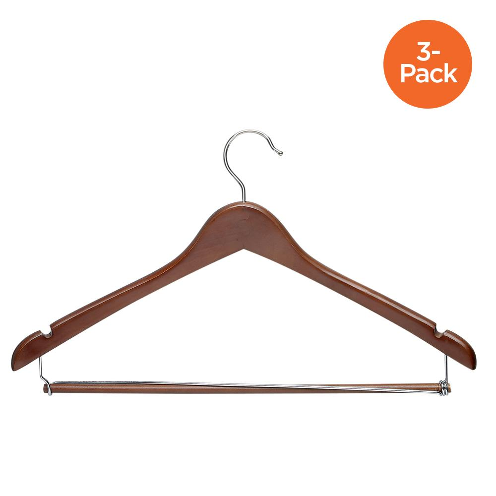 3-Pack Wood Contoured Suit Hangers, Cherry