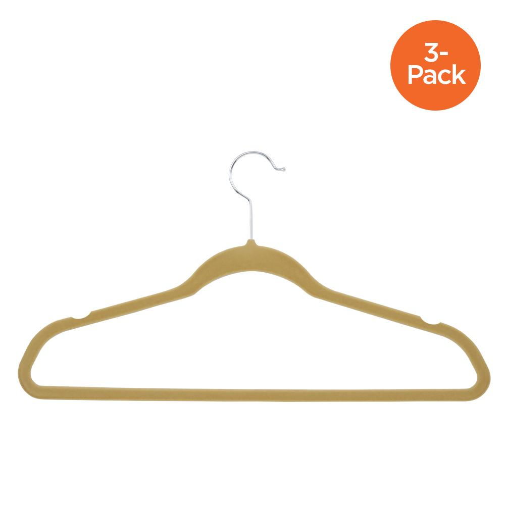 3-Pack Velvet Suit Hanger, Tan