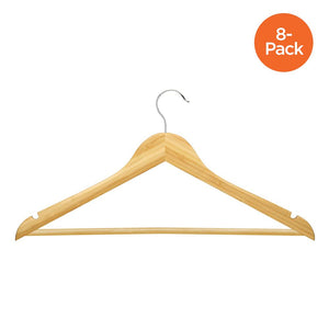8-Pack Wood Suit Hanger, Bamboo
