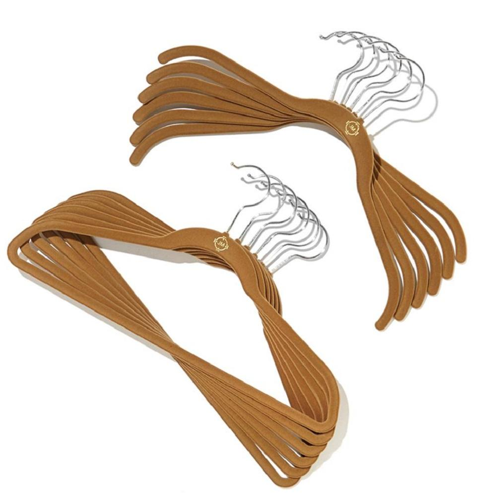 JOY Mangano 100-piece Huggable Hangers Set, Rich Camel with Chrome