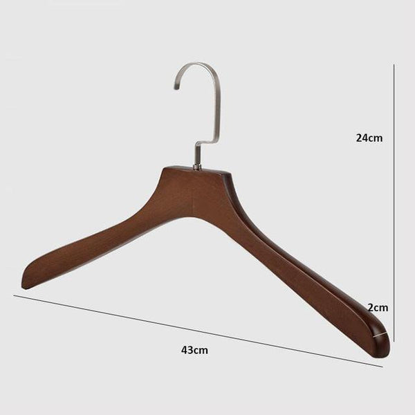 10 Pcs Thick Walnut Finish Wooden Clothes Coats Hangers, High Grade Antique Wood Suit Hanger For