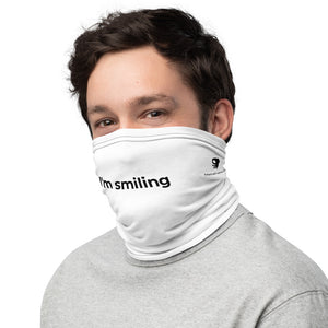 MEME FRAMES <br> I'm Smiling Neck Gaiter <br> White Face Covering with Black Text