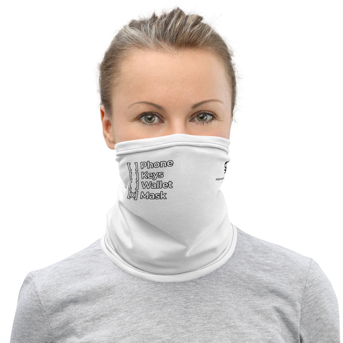 MEME FRAMES <br> Checklist Neck Gaiter <br> White Face Covering with Black Text