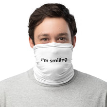 Load image into Gallery viewer, MEME FRAMES <br> I'm Smiling Neck Gaiter <br> White Face Covering with Black Text