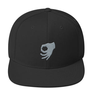 MEME FRAMES Logo Snapback Hat Black with Silver Logo, APPAREL & ACCESSORIES