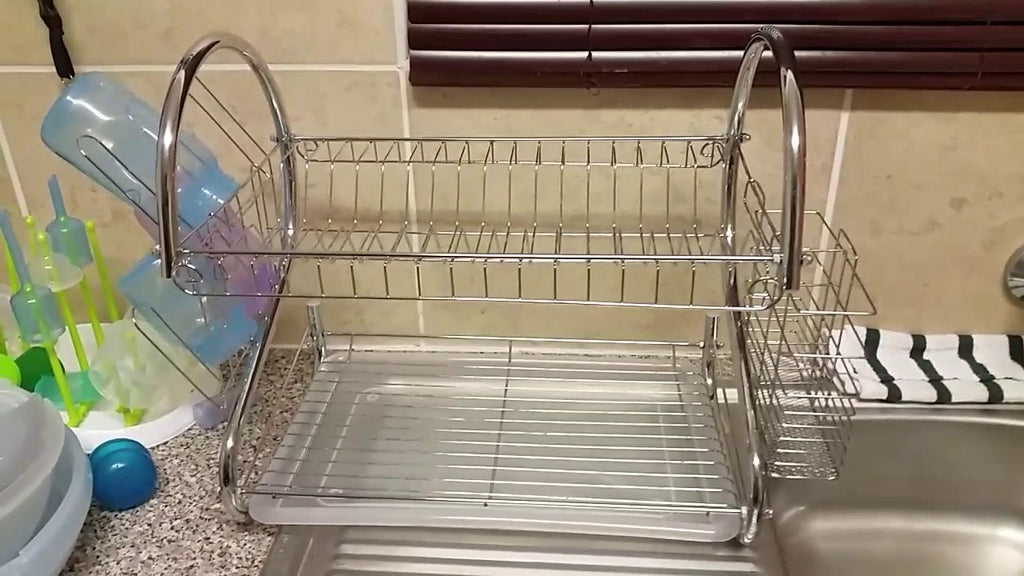 Use your old dish rack to save space in your cuboard instead of throwing it away