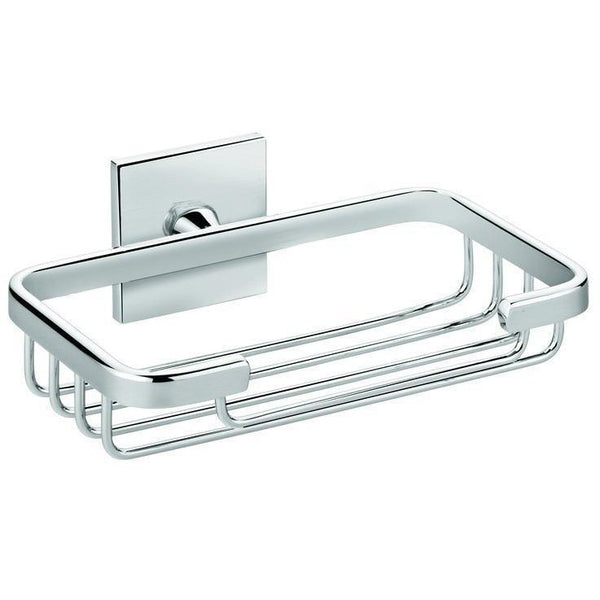 Square Self-Adhesive Shower Soap Dish Holder Tray Rack Soap Holder, Brass Chrome