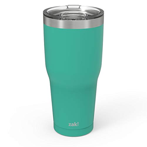 Zak Designs Double Wall Stainless Steel Vacuum Insulated Tumbler with Slide Lid and Splash-Proof Design Metal Water Bottle is Perfect for Outdoor Activity (30oz, Tropic, 18/8, BPA-Free)