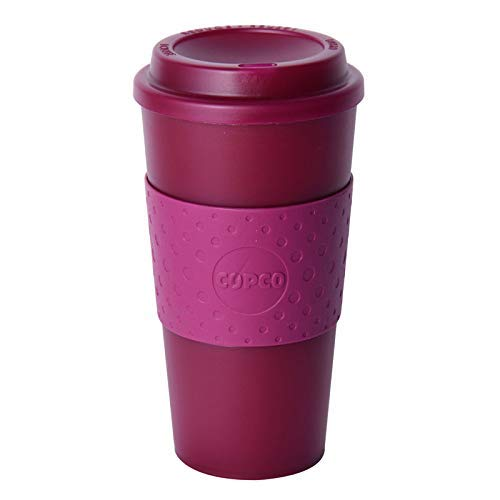 Copco Acadia Double Wall Insulated Travel Mug with Non-Slip Sleeve, 16-Ounce (Translucent Marsala Red)