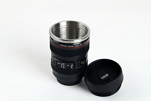 Elite Kitchen Camera Lens Travel Novelty Coffee Cup Mug Tumbler With Lid Canon EF 24-105mm 11oz Stainless Steel Themos Inside