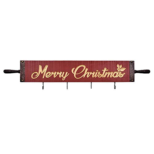 OUCHAN Christmas Wall Mounted Wooden Hooks - Sign Decor Rustic Wall Decor Key Holder Coat Rack with 4 Hook for Home and Kitchen