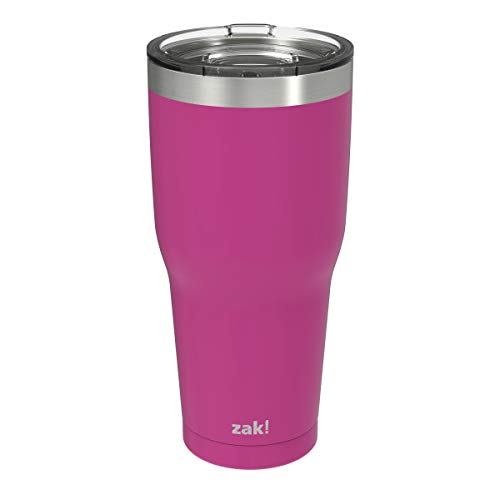 Zak Designs Double Wall Stainless Steel Vacuum Insulated Tumbler with Slide Lid and Splash-Proof Design Metal Water Bottle is Perfect for Outdoor Activity (30oz, Peony, 18/8, BPA-Free)