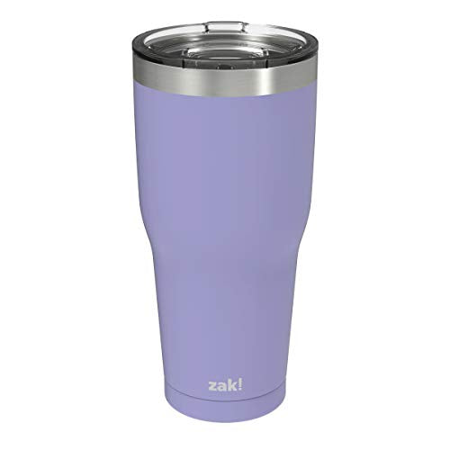 Zak Designs Double Wall Stainless Steel Vacuum Insulated Tumbler with Slide Lid and Splash-Proof Design Metal Water Bottle is Perfect for Outdoor Activity (30oz, Iris, 18/8, BPA-Free)