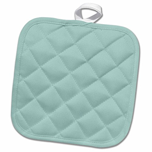 3D Rose Plain Mint Blue - Solid Color - Light Turquoise-Grey-Gray - Modern Contemporary Simple Pastel Teal Pot Holder, 8 x 8,