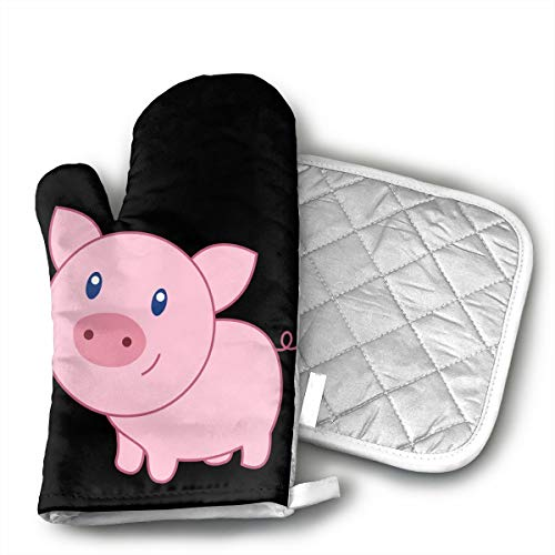 Cute Cartoon Pig Oven Mitts Kitchen Gloves and Pot Holders 2pcs for Kitchen Set with Cotton Neoprene Silicone Non-Slip Grip,Heat Resistant,Oven Gloves for BBQ Cooking Baking Grilling