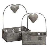 Heart Smiles Sweetheart Table Caddy, Set of 2, Metal with Heart Handles - Condiment and Utensil Organizer Caddies for Kitchen Countertops - Rustic, Handmade Basket Holders for Napkins, Salt and Pepper