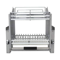 Kitchen Pull Down Chrome Steel 2 Tier Wire Dish Drainer Rack Utensils Basket Shelf Plate Holder for 600mm Width Cabinet
