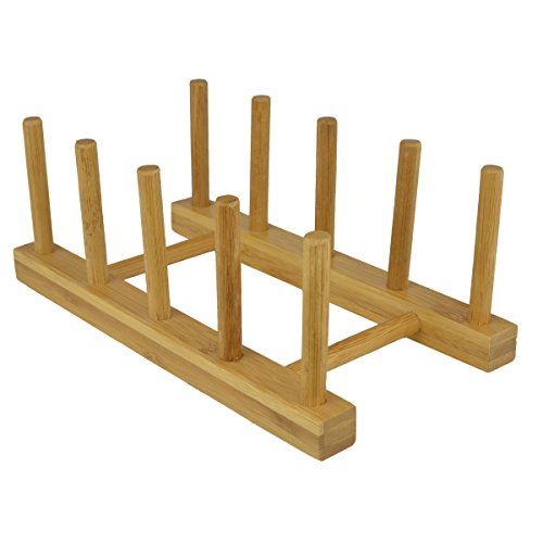 Eco Friendly Bamboo Wood Plates/Pots/Pans/Cups Dish Drying Rack Drainer Storage Organizer - MyGift