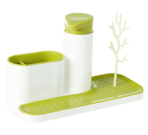 Kitchen Bathroom Sink Base Sink Tidy/Caddy Organizer Holder - Soap Dispenser Pump with Sponge & Scrubby - Scouring Pad Holder - Green