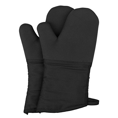 Magician Heat Resistant Oven Mitts - Non-Slip Grip Pot Holders for Kitchen Cooking Baking, up to 450?F Heat Resistant, Heavy Duty Oven Gloves - 1 Pair (Black)