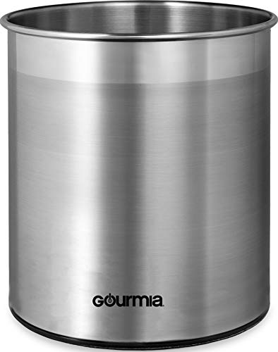 Gourmia GCH9345 Rotating Kitchen Utensil Holder – Spinning Stainless Steel Organizer to Store Cooking and Serving Tools - Dishwasher Safe, Non Slip Bottom – Use as Caddy or Pencil Cup