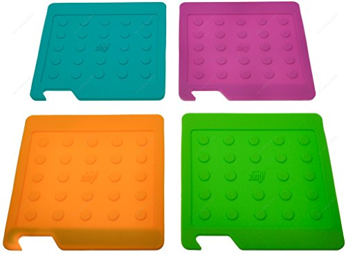 Zing! 93092 Multipurpose Silicone Kitchen Tool, Trivet/Pot Holder, Square Rest, Jar Opener, Coaster, Round Heat Resistant Pad, 6 x 6 Inches, Sold as 1 Pieces, Color May Vary