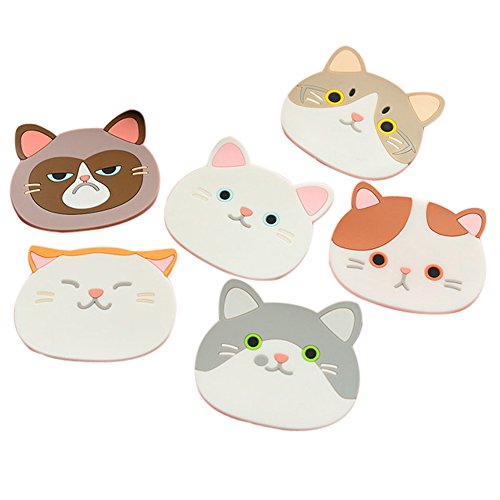 Ozzptuu Set of 6 Silicone Cartoon Cat Pot Holders Heat-resistant Non-slip Trivet Mat Hot Pot Cup Coasters