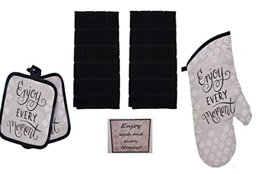 Home Collection 5 Piece Gray Enjoy Every Moment Kitchen Dish Towel Set - 2 Towels, 2 Pot Holders, Oven Mitt and Bonus Matching Magnet