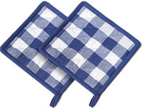 Cotton Clinic Gingham Buffalo Check 100% Cotton Pot Holders, Heat Resistant and Machine Washable, Kitchen Hot Pad Set of 2, Navy White
