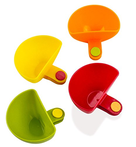 PAMISO Dip Clips (Pack of 4) Plate Grab Clip-on Dip Holders,Tomato Sauce Salt Vinegar Sugar Flavor Spices Dip Bowl Party Ware