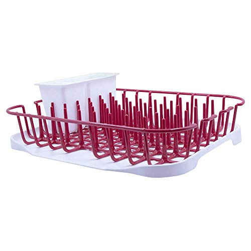 GLAD GLD-71109 Drying Organizer with Dish Rack, Drain Board & Utensil Holder Kitchen, Pantry, Cabinet, Cupboard, Shelf, Sink, Silverware, One Size