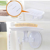 Suction Plastic Soap Dish With Towel Hook