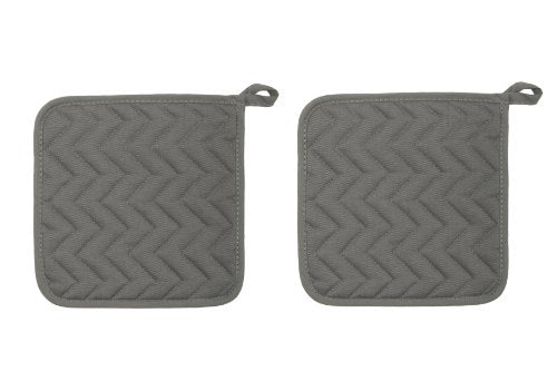 Now Designs Basic Potholders, London Grey, Set of 2