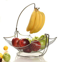 Fruit Basket + Banana holder, Elegant Fruit Bowl with Banana Tree Hanger, Chrome or Black for the classic look (chrome)