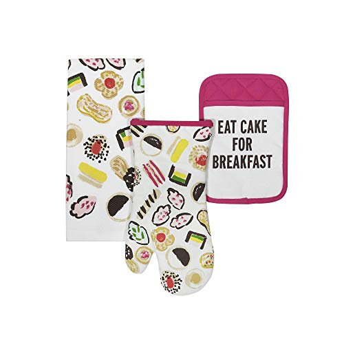 Kate Spade Eat Cake for Breakfast Kitchen Towel, Oven Mitt, and Pot Holder Set, Multi-Color