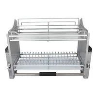 Pull Down 2 Tier Chrome Steel Wire Dish Drainer Rack Utensils Basket Shelf Plate Holder for 800mm Width Cabinet Kitchen