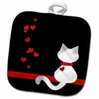 3D Rose Pet Lovers Red Hearts Siamese Kitty Cat Pot Holder, 8 x 8