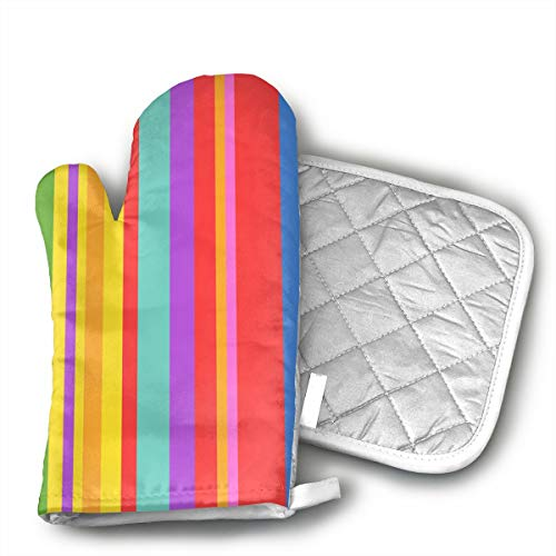 GUYDHL Unisex Oven Mitt and Pot Holder for Rainbow Stripe - 2 Pair
