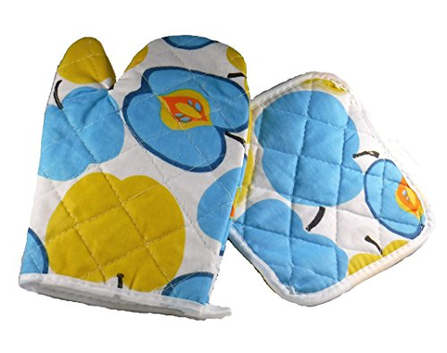 Galleria Ventures Blue and Yellow Apples Quilted Print Oven Mitt Glove and Pot Holder pad