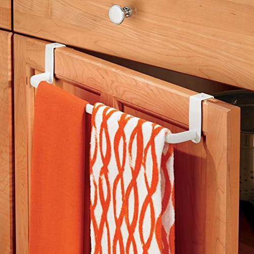"mDesign Over-the-Cabinet Kitchen Dish Towel Bar Holder - 14"", White"