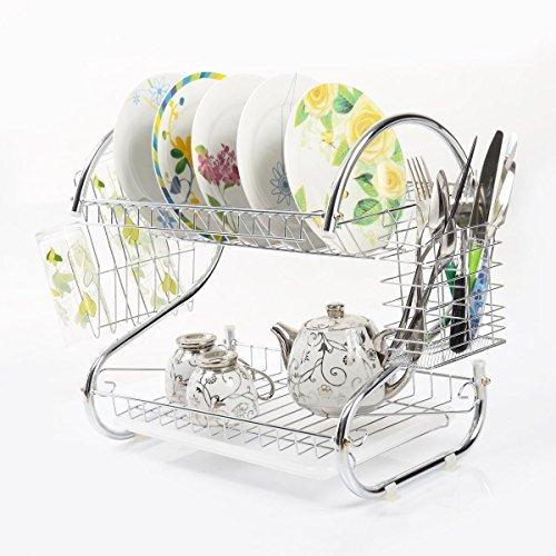 2 Tiers Kitchen Dish Cup Drying Rack Holder Organizer Drainer Dryer Tray Cutlery By Dish Holder