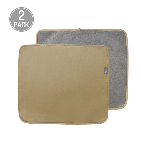 Y.VN 16 by 18-Inch Microfiber Dish Drying Mat -2 pack, Beige