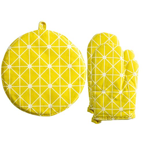 Oven Mitts and Pot Holder Set Cotton Linen Lattice Heat Resistant Microwave Gloves for Cooking/Baking/Barbecue(Yellow)