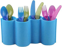 4 Compartments Pen Pencil Desk Organizer Utensils Cutlery Spoon and Fork Holder Caddy Set for Kitchen, Dining Blue - 9 inches