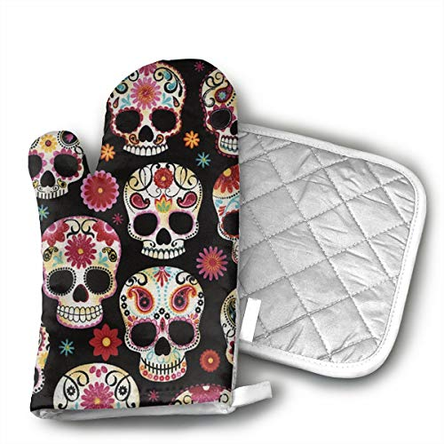 Novelty Sugar Skull Oven Mitts Kitchen Gloves and Pot Holders 2pcs for Kitchen Set with Cotton Neoprene Silicone Non-Slip Grip,Heat Resistant,Oven Gloves for BBQ Cooking Baking Grilling